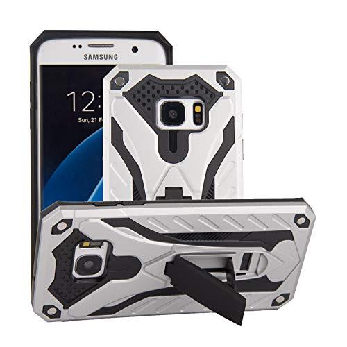 Capa de cellular protetora Samsung Galaxy S7 Edge Capa PC rígido + TPU macio altamente elástico Dupla proteção Função de Colchete Oculto Case Impressão digital à prova de choque Protector:Prata