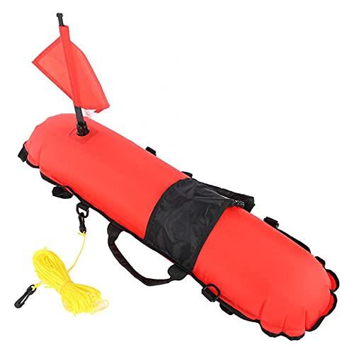 WHCL Flotador de Buceo Inflable de la buoyada de la Pesca de Lanza, Inflable de Nylon, infla rápida señal de Buceo Flotador con Cuerdas de 20 m y Bandera de Buceo extraíble