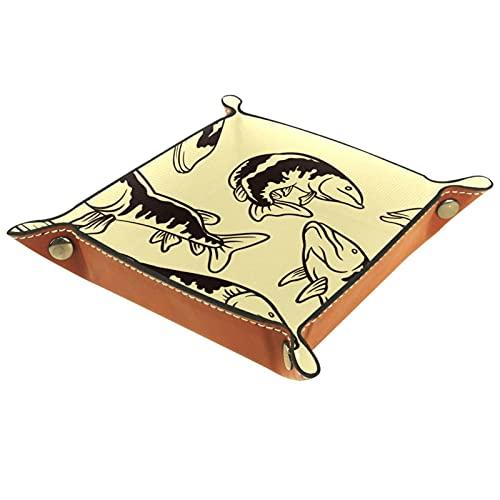 Bandeja organizadora para dados de pescado muskie vintage, práctica caja de almacenamiento para carteras, relojes, llaves, monedas, teléfonos celulares y equipos de oficina