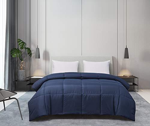 Blue Ridge Home Fashions Microfiber Down Alternative All Season Comforter-Hypoallergenic Polyester Fill, Twin, Navy
