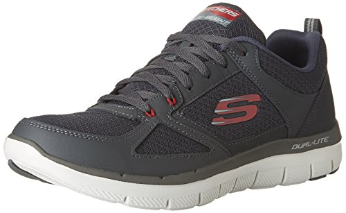 Skechers Herren Flex Advantage 2.0-Lindman Sneaker, Grau (Charcoal/red), 45 EU