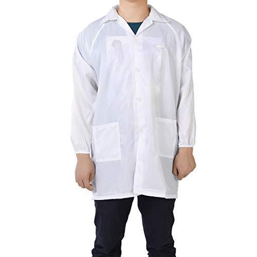 Anti Static Peto Unisex ESD Lab Coat Button Up Revel Collar L Blanco