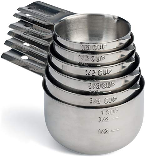 Hudson Essentials Stainless Steel Measuring Cups Set - 6 Piece Stackable Set with Spout