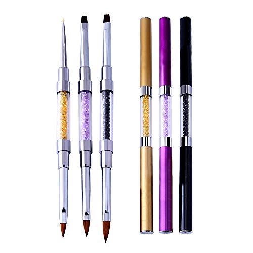 NEU 3 Stück Set Gelpinsel & Acrylpinsel Nagel Pinsel Nail Art Nageldesing Gel Brush Gel Nageldesign für Anfänger und Professionel DE