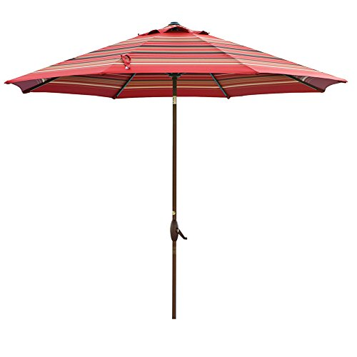 Abba Patio 11ft Patio Umbrella Outdoor Umbrella Patio Market Table Umbrella with Push Button Tilt and Crank for Garden, Lawn, Deck, Backyard& Pool, Beige