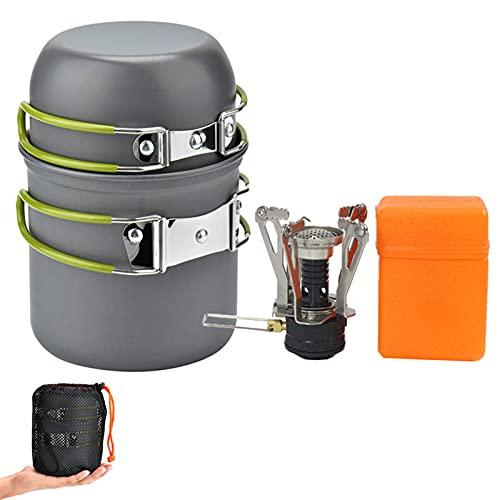Conjunto de camping conjunto de estufa de ollas, utensilios de cocina plegables Camping al aire libre Mochila de senderismo, ollas de picnic y piezas de picnic y púas, adecuados para 1-3People