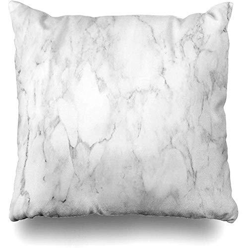 Lihaky Coussin Housse de Coussin Carré Marbre Blanc Toile de Fond Texture Motif Comptoir Haut Textures Décoration Noir Peinture Objets Taie d'oreiller