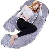 Dkinghome Almohada de Embarazo Almohadas de Maternidad de Cuerpo Completo en Forma de U para Dormir, Extraíbles para Dormir con el Bebé Lactante(Terciopelo Gris)
