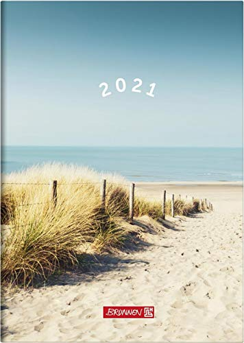 Brunnen 1079515031 Buchkalender Modell 795, 1 Seite = 1 Tag, 14,5 x 20,6 cm, Grafik-Einband Strand, Kalendarium 2021