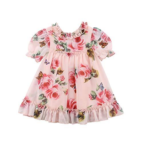 Roupas De Bebe Menina Vestido Infantil Festa Floral Chiffon Tamanho:De 9 a 12 meses