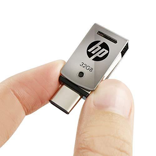 HP32GBUSB3.1対応Type-C+AデュアルUSBメモリ金属製の360度回転デザイン2in1OTGシルバーフラッシュドライブx5000mHPFD5000M-32