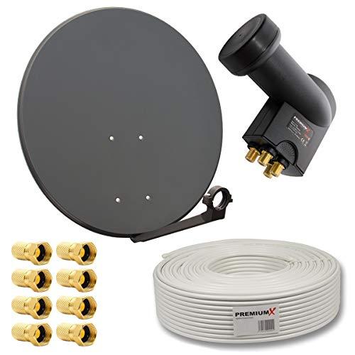 PremiumX HD Digital Sat Anlage 80cm Stahl Sat Antenne Anthrazit + Quad LNB 4-Teilnehmer 50m Sat Koaxial Kabel 130dB 4-Fach + 8 F-Stecker