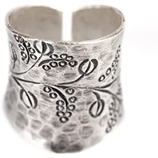 81stgeneration Karen Hill Tribe Fine Pure 999 Sterling Silver adjustable ring size:Asagao