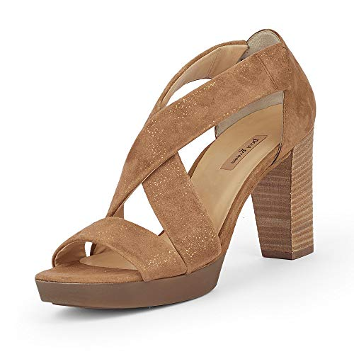 Paul Green Damen Sandalette 7486, Frauen Riemchensandalen, sommerschuh Sommersandale Absatz weibliche Lady Ladies feminin,Sparkle NUT,38 EU / 5 UK