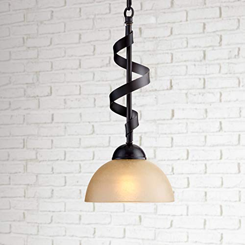 Bronzeador Oil Rubbed Bronze Mini Pendant Light 7 Wide Spiral Ribbon Amber Glass Bowl Shade Fixture for Kitchen Island Dining Room - Franklin Iron Works