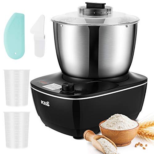 KBS Stand Mixer, Double Mixing Blade Dough Maker, 4-QT Compact Dough Mixer with Powerful Pure Copper Motor, Splash Guard, Scraper, Knob Control, Dough Kneader Stainless 304 Steel, 7 Accessories