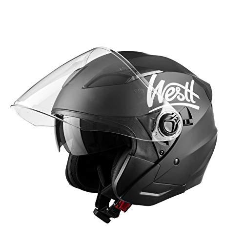 Westt Jet · Casco Jet Moto Nero Opaco Doppia Visiera Scooter Motorino Chopper · Casco Moto Donna e Uomo Demi Jet · Omologato ECE