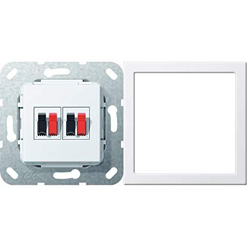 Gira 569303 Lautsprecher Anschluss 2-fach Einsatz, reinweiß & Montagerahmen bruchsicher ST55 reinweiß-glänzend, 264803