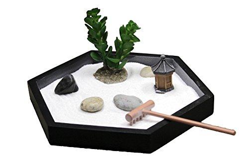 Nature's Mark Mini Meditation Zen Garden Table Décor Kit with Shaped Base (7Lx6W Hexagon)