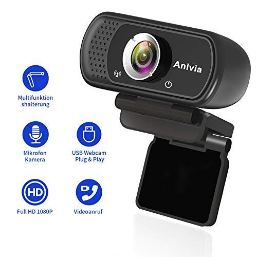 PaPalook PA187 WebCam HD 1080P Camera con microfono integrato Definizione alta USB 2.0 Compatibile con Skype MSN Facebook Youtube PC Desktop Computer