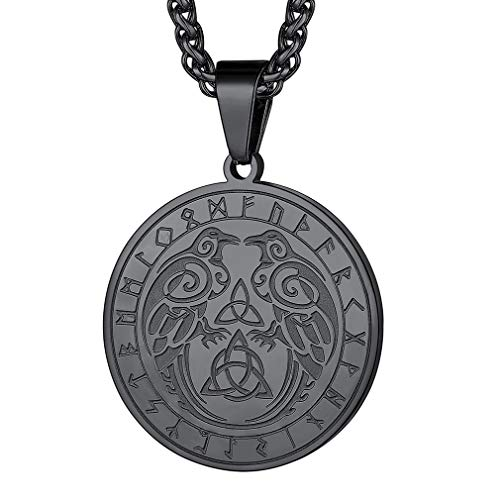 FaithHeart Odin's Ravens Necklace Huginn and Muninn Pendant Runic Coin Celtic Knot Irish Viking Necklaces Stainless Steel Jewellery Gift for Men