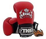 Top King Super Air TKBGSA guantes de boxeo, Muay Thai, talla: 8,10,12,14,16onzas, Color: blanco, negro, rojo, verde, azul, rosa, amarillo, para entrenamiento, pelea, guantes de boxeo, para Muay Thai, artes marciales mixtas, K1, color blanco, rojo y negro, tamaño 39,8 cl