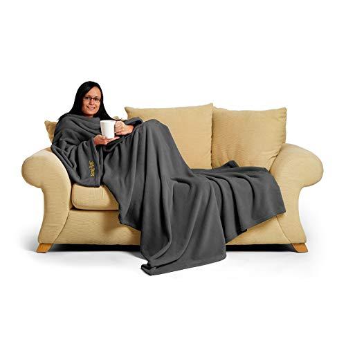 CKB LTD Gris Snug Rug Deluxe Couverture a Manche | Authentique SnugRug en Polaire la Couverture avec Manches pour Adulte | 260gsm Tissu Doux de Molleton de Corail de Luxe et Poche de Poche