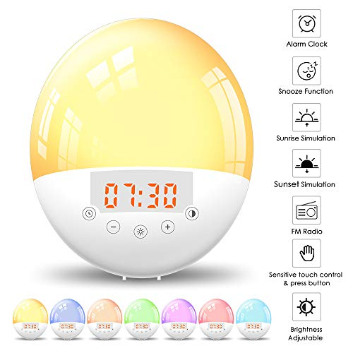 Lixada Wake Up lichtwekker zonsopgang zonsondergang simulatie FM-radio wekker voor volwassenen en kinderen [energieklasse A ]