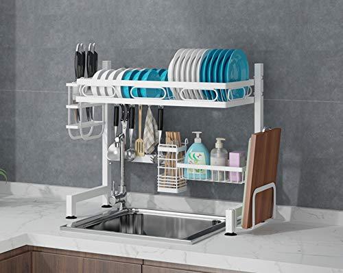 Estante para secar platos del fregadero, organizador de contador para suministros de cocina, estante de almacenamiento tabla de cortar y soporte de utensilios para ahorrar espacio escurridores 82 cm