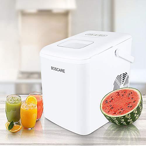 Máquina para hacer hielo BOSCARE, máquina para cubitos de hielo de 24 horas, compacta y ligera con pala de hielo y cesta, color blanco