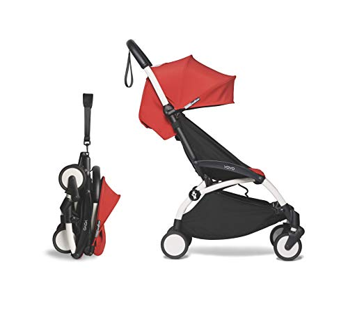 BABYZEN YOYO2 6+ Stroller - White Frame with Red Seat Cushion & Canopy