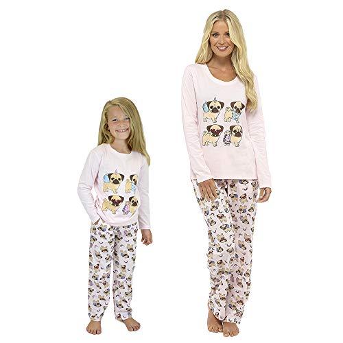 Habigail Ladies Girls Pyjamas PJ's for Women Twosie Pajama Set - Mum & Daughter Matching Pajamas Sets (11-12 Years, Pug Unicorn)