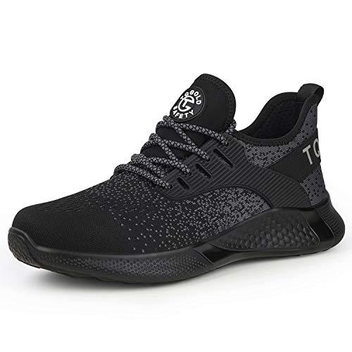 TQGOLD Zapatos de Seguridad para Hombre Mujer S3 Ligeros Comodos Zapatos de Trabajo(Negro,Tamaño 36)