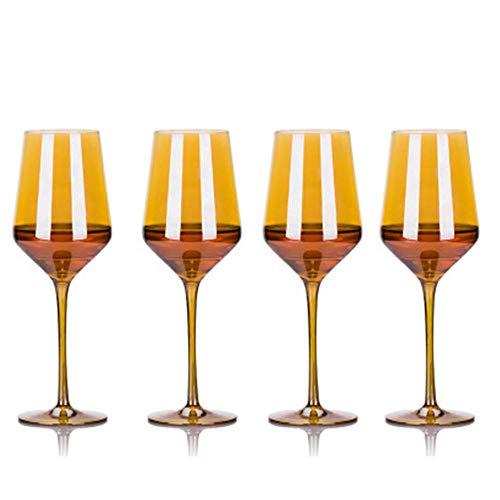 N/D Copas de Vino, Copas de Vino Doradas Copas de Vino Europeas Copas de Vino de Cristal sin Plomo, de diseño Moderno y Elegante aptas para Bodas y cumpleaños de Navidad y Año Nuevo