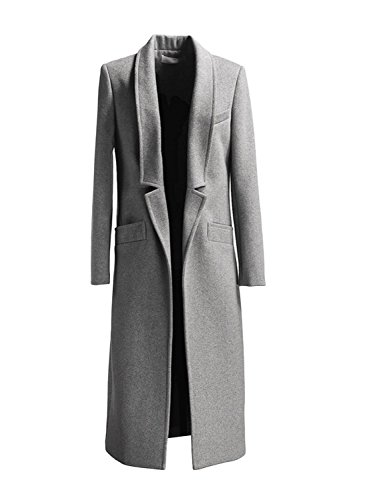 Persun Women Gray Woolen Lapel Long Sleeve Longline Coat,Large,Gray