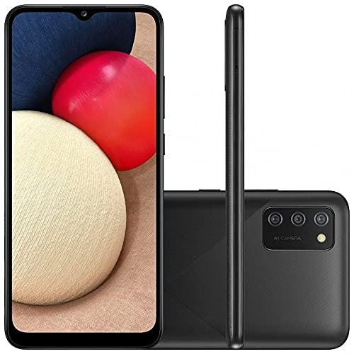 """Smartphone Samsung Galaxy A02s Preto 32GB, Tela Infinita de 6.5"""", Câmera Tripla, bateria 5000mAh, 3GB RAM e Processador Octa-Core"""