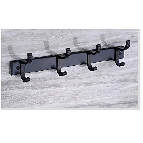 Espacio Aluminio blanco Pintura negra Gancho extraíble Fácil de instalar gancho de la fila de la moda del gancho de la capa de pared-C6 resistente a la corrosión fácil de limpiar e higiénico