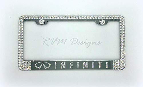 Bling Chrome License Plate Frame made with Swarovski Crystals - Infiniti Car Jewelry -  RVMdesigns