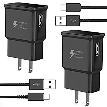 TT&C Adaptive Fast Charger kit with USB Type C Cable【6.6ft】 Compatible with Samsung Galaxy S8/S8 Plus/S9/S10/S10 Plus/S10e/ S20/S20 Plus/S21/S21 Ultra/Note 8/Note 9/Note 10/Note 20  2 Pack