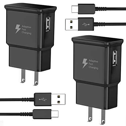 TT&C Adaptive Fast Charger kit with USB Type C Cable【6.6ft】 Compatible with Samsung Galaxy S8/S8 Plus/S9/S10/S10 Plus/S10e/ S20/S20 Plus/S21/S21 Ultra/Note 8/Note 9/Note 10/Note 20 (2 Pack)