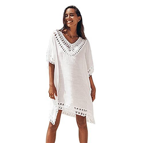 oneforus Bikini de Costura de Encaje para Mujer Vestido de Playa con Cuello en V Sexy Ropa de Playa de Encaje de Ganchillo patrón de Costura Vestido de Ganchillo