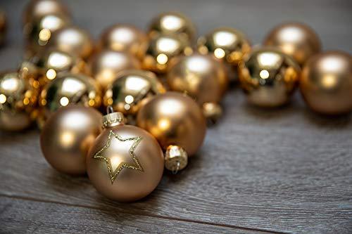 KREBS & SOHN Set di palline di Natale in vetro 5,7 cm – Decorazioni per albero di Natale – 20 pezzi, oro, stelle
