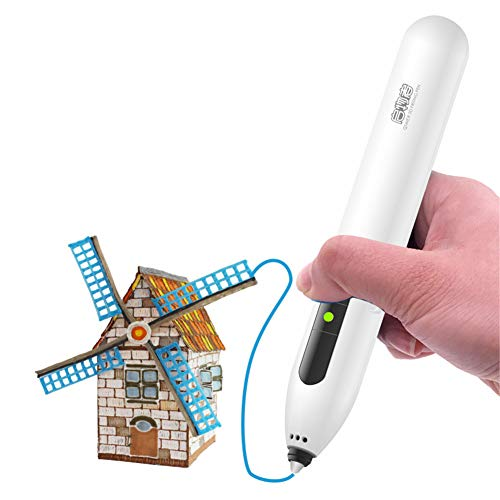 Skiout 3D Printing Pen with USB Intelligent 3D Printer Drawing Pen Compatible with 15 Colors PCL Filament,Safety Design Adjustable Speed 3D Craft Pen Christmas Toys/DIY Gift for Kids,white