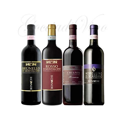 4 bottiglie TOSCANA - BRUNELLO - ROSSO MONTALCINO - CHIANTI - MORELLINO DI SCANSANO