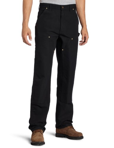 Carhartt Men's Firm Duck Double-Front Work Dungaree Pant B01, Black, 33W X 30L
