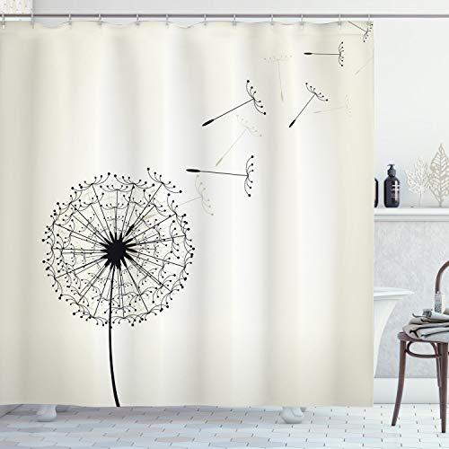 ABAKUHAUS Löwenzahn Duschvorhang, Fliegende Samen Blume, mit 12 Ringe Set Wasserdicht Stielvoll Modern Farbfest & Schimmel Resistent, 175x200 cm, Beige & Schwarz