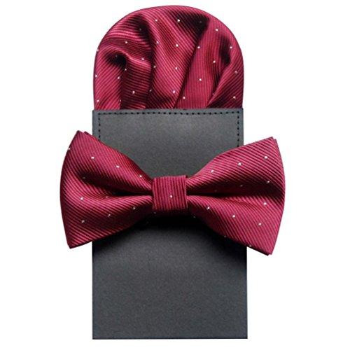NiSeng Corbata & Pañuelo Sólido Color Dia del Padre Elegante Pajaritas Con Pañuelo Trabajo/Negocios/Fiesta Corbatas Pajarita para Hombres Vino Rojo