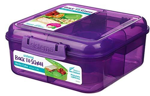 Bento Back to School Cube - 1.25 l + Joghurt Topf - 150 ml. Violett