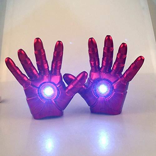 BLL Los Guantes Iron Man (1 par) se Pueden iluminar, los Dedos se Pueden Doblar con flexibilidad, los Adultos y los niños juegan