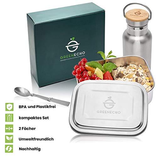 GreenEcho® Nachhaltiges Edelstahl Brotdose Set 1000ml mit Trinkflasche 350ml und Faltlöffel - Lunchbox mit Fächern - Eco Bento Box BPA und Plastikfrei - auch für Kinder, Outdoor, Sport, Wandern